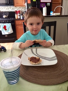 Daniel had a whole grain English muffin with Nutella for breakfast today!