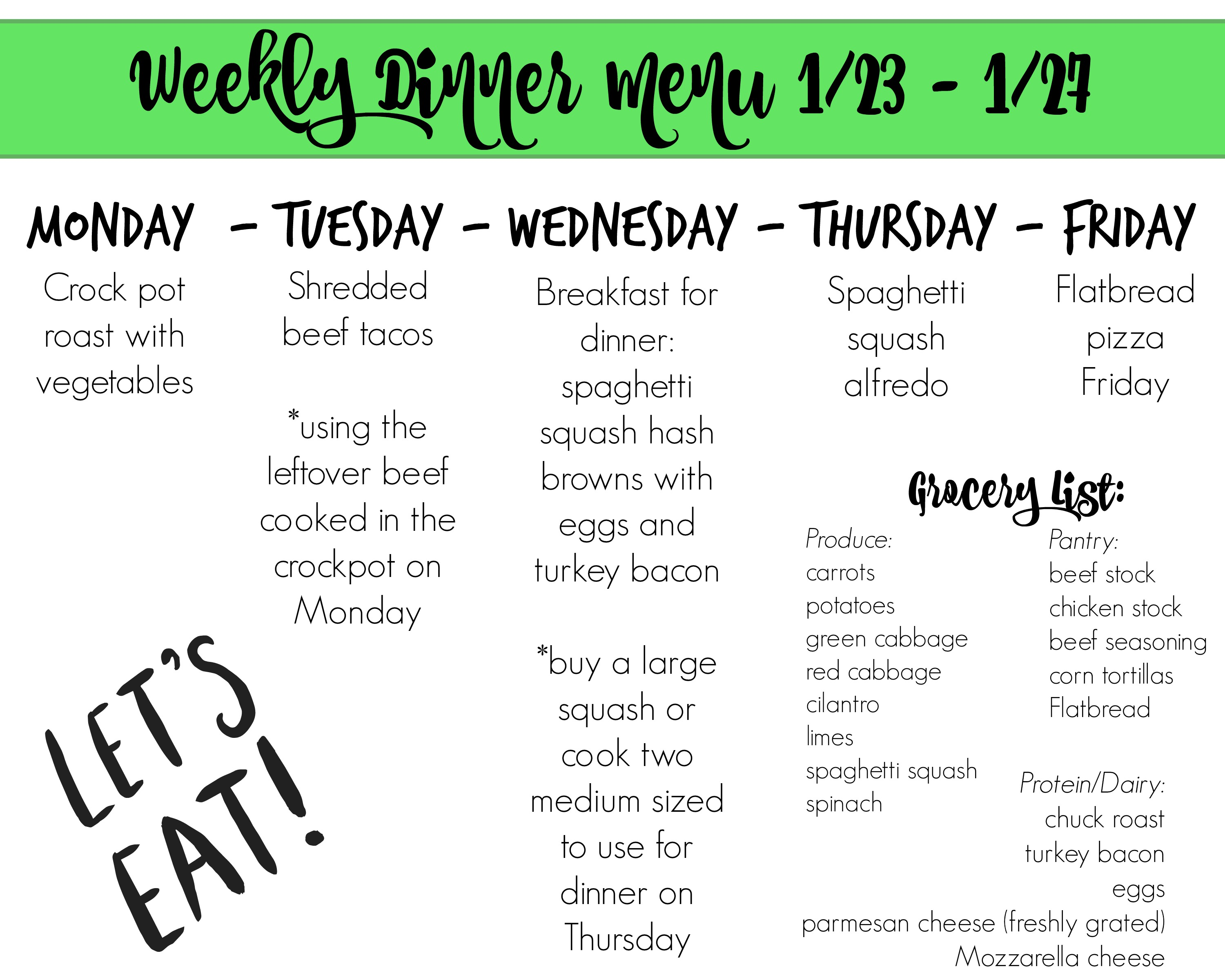 Dinner Meal Plan 1 23 To 1 27